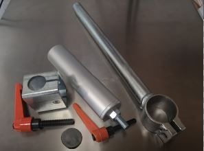 Package: Clamp Stork WITH handle SHORT (200mm) and SHORT Cylinder (200mm) and Stork Holder with Handle and Rubber Foot
